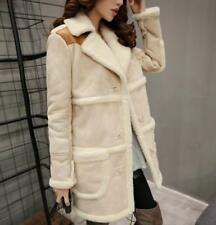 Women faux suede leather jacket thick coat outwear fur lined parka padded