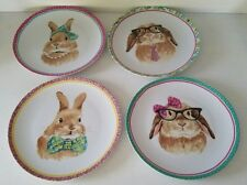"""Pier 1 Imports Set 4 Easter Bunny Faces 8"""" Salad Side Plates"""
