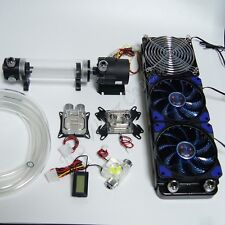 PC Liquid Cooling 360 Radiator Kit Pump 190mm Reservoir CPU GPU HeatSink Blue