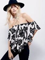 NEW Free People black ivory Floral Off The Shoulder Ruffled Lace Up Back Top XS