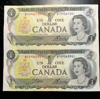 1973 $1 BANK OF CANADA UNCUT SHEET OF 2 PREFIX BFK - UNC!!