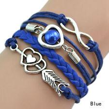 Infinity Love Heart Pearl Friendship Antique Silver Leather Charm Bracelet Hot N Blue