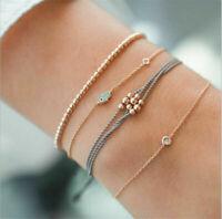 Women 4Pcs Crystal Eye Adjustable Open Bangle Gold Bracelet Fashion Jewelry L7