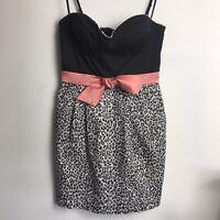 Elsie Ryan Size 12 Adjustable Strap Bodycon Animal Print Mini Dress With Pockets