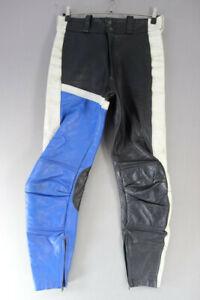 "VINTAGE INTERSTATE LEATHER BLACK, BLUE & WHITE BIKER TROUSERS WAIST 34/I LEG 31"""
