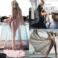 Womens Boho Beach Bikini Maxi Cover Up Kaftan Lace Crochet Kimono Chiffon Sarong