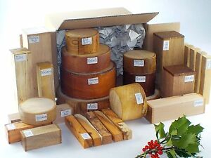 Wood turning blanks gift selection pack. Box of mixed sizes and species. 75