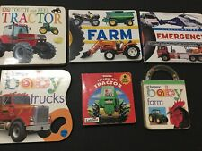 Six x Tractor,  Farm, Truck & Emergency Vehicle Theme Board Books Used