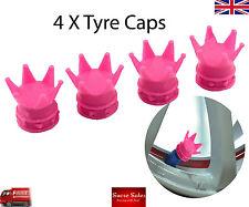 Corona De Color ROSA Coche Rueda Neumático Neumático Válvula Polvo gorras cubre Neumático Conjunto de 4 Reino Unido