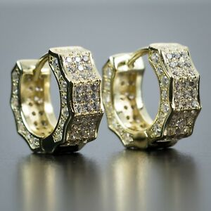 Mens Fully Iced Small 14K Yellow Gold 925 Sterling Silver Huggie Hoop Earrings