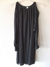 Old Navy Womens LT Large Tall Black Polka Dot Cold Shoulder Lined Dress L/S Poly