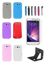TPU Clear Silicone Gel  Soft Case Cover For Galaxy S3 (free stylus screen stand)