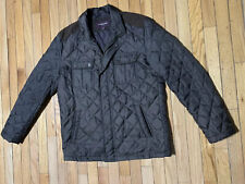 Johnston & Murphy Men's quilted jacket Green lined size L Snap Button Zip front