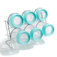 StoreSmith Glass Jar 6 pack with Magnified Lids and Rack