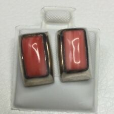 Pink Coral Stones Mexico Sterling Silver Earrings with