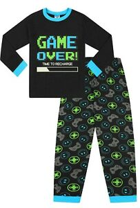 Boys Game Over Time To Recharge Glow In The Dark Long Gaming Pyjamas