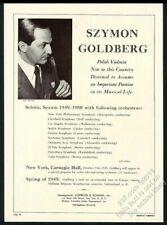 1949 Szymon Goldberg photo violin recital tour booking print ad
