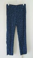 womens blue J JILL pants slacks straight slim elastic waist floral tall 6 6T
