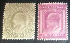 India 1902 4 Annas & 8 Annas Stamps Mint Hinged