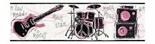 Ready to Rock Girls Band Instruments with Silver Accent Wallpaper Border JE3639B
