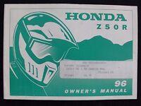 GENUINE 1996 HONDA 50 Z50R DIRT BIKE MOTORCYCLE OPERATORS MANUAL VERY GOOD