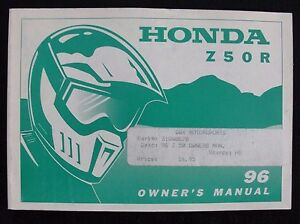 GENUINE 1996 HONDA 50 Z50R DIRT BIKE MOTORCYCLE OPERATORS MANUAL VERY GOOD