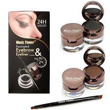 Makeup Kit 2in1 Black Brown Waterproof Eyeliner Gel & Eyebrow Powder with Brush