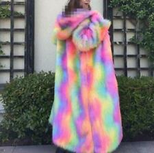 Trench Coat Ladies Rainbow Outwear Mixed-color Hooded Fur Jacket Parka Luxury Sz