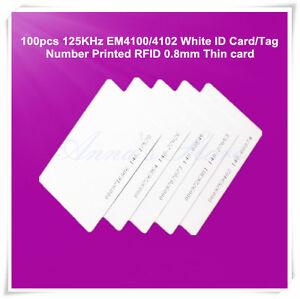 100pcs 125KHz EM4100/4102 White ID card/tag number printed RFID 0.8mm Thin card