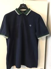 FRED PERRY SLIM FIT TWIN TIPPED POLO BLUE WITH GREEN COLLAR AND WHITE TIPS XL