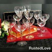 Vintage Rock Sharpe? Crystal Etched Floral : Wine, Water, champagne Set of 10