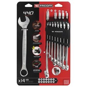 Facom Tools New 14 Piece Combination Spanner Wrench Set 7mm > 24mm In Clip