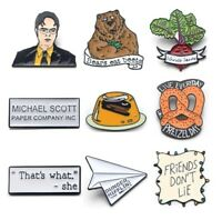 TV shows Dwight Shrut Enameled Metal Pins Brooches Pudding Bear Beetroot Friends