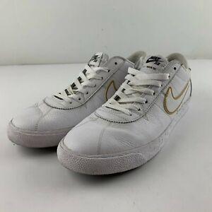 Nike SB Zoom Bruin Premium Men US 12 White Gold Skateboarding Sneaker 877045-117
