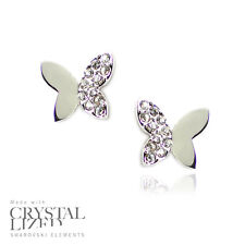 BUTTERFLIES Swarovski Elements Crystal 18-KRGP White Gold Plated Stud Earrings