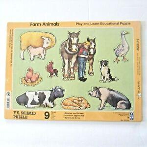 FX Schmid Board Puzzle Farm Animals 9 Pieces Play Learn Educational Vintage 1995