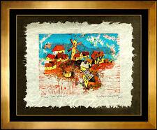 Yankel Ginzburg Silkscreen HAND SIGNED The Village Abstract Authentic Artwork
