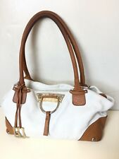 D&G DOLCE & GABBANA BROWN WHITE TWO TONE SATCHEL BAG PEBBLED LEATHER X- LARGE