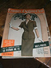 Femmes d'aujourd'hui N° 379 1952 Mode vintage  patrons Couture Broderie Robe