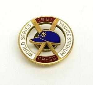 1961 YANKEES WORLD SERIES PRESS PIN Original Screwback Lapel Pin MLB by Balfour