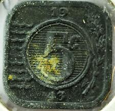 1943 Netherlands 5 Cent, Square Zinc Coin, KM#172,   #B11