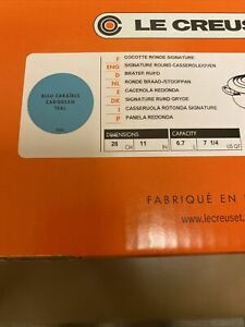 Le Creuset 7 1/4 Signature Round Casserole/Oven BLEU CARAIBES CARIBBEAN TEAL
