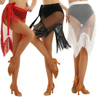 Women Belly Dance Latin Sequins Tassels Hip Scarf Wrap Belt Skirt Fishnet Fringe