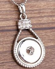 Fits Ginger Snaps SNAP PENDANT Rhinestone Drop Necklace Interchangeable 18mm