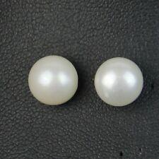 Boucles d'Oreilles Clous Perle de Culture Plate Argent 925 Blanche 10mm-11mm