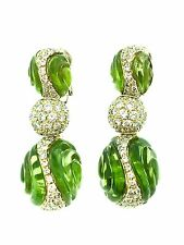 Carved Peridot and Diamond Drop Earrings in 18k Yellow Gold - HM1454B4