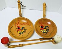 Set of 4 Woodpecker Woodware Japan Wood Long Handle Salt & Pepper & Pans 1950's