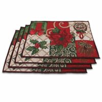 Beautiful 100% Cotton Set of 4pcs Non-Slip Vinyl Placemats 13 Inch by 19 Inch