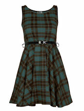 Ladies Red Tartan Sexy Skater Dress Ladies Check Belted Party Dress Size 8-26