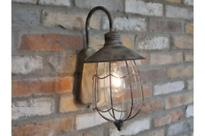 Antique Gold Large Battery Operated Industrial Geometric Metal Wall Lantern